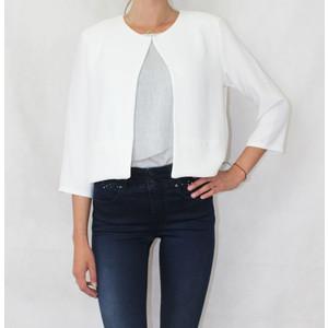 Zapara Cream Plain Open Crop Jacket
