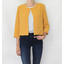 Zapara Mustard Plain Open Jacket