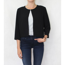 Zapara Black Plain Crop Jacket