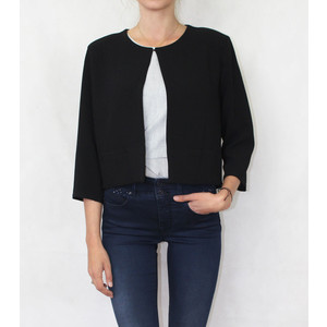 Zapara Black Plain Crop Jacket