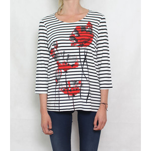 Zapara Cream Navy Strip and Flower Print Top