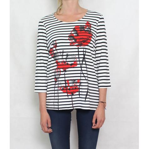 Zapara Cream Navy Strip and Flower Print Top