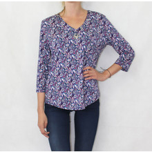SophieB Purple Leaf Pattern Necklace Detail Top