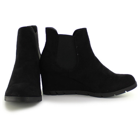 Refresh Black Round Pointed Ankle Wedge Boots