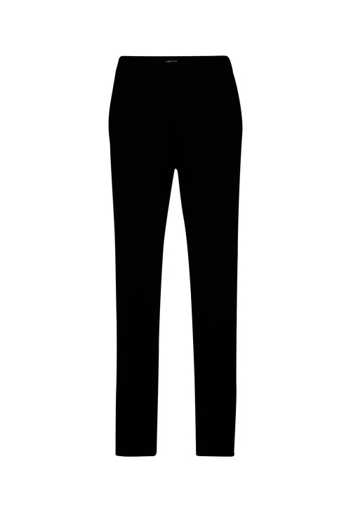Olsen TROUSERS MONA STRAIGHT - WITH DECORATIVE TAPE - BLACK