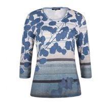 Olsen  Abstract Print Top Azure Blue