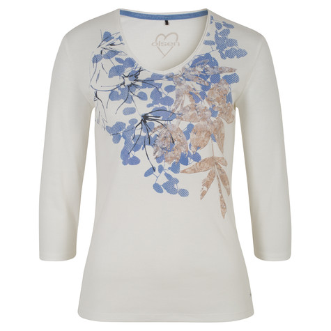 Olsen T-SHIRT PLACEMENT PRINT LEAF - OFF WHITE