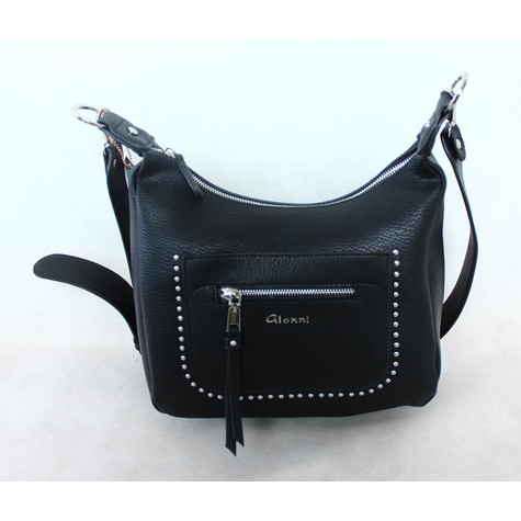 Gionni Black Front Stud Zip Detail Bag