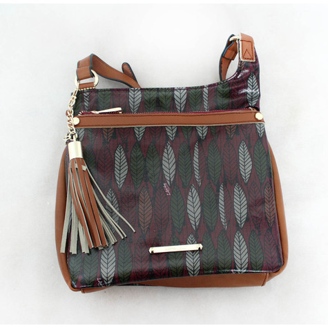 Gionni Plum & Brown Leaf Pattern Bag