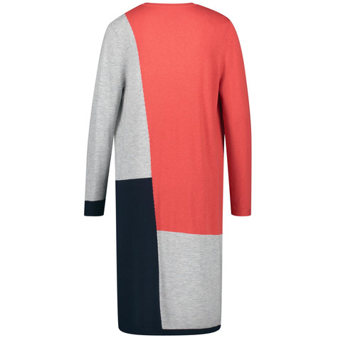 Gerry Weber Grey Red Orange Long cardigan with colour blocking
