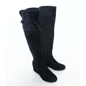 Susst Over the Knee Black Suede Effect Boots