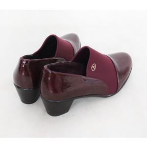 Andarina Burgundy Slip On Black Heel Boots