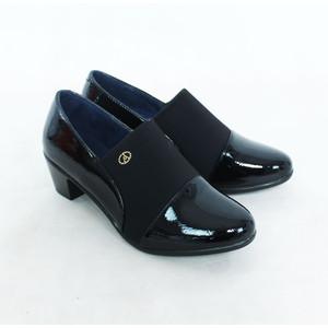 Andarina Black Slip On Block Heel Boot