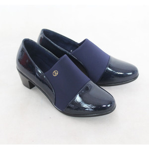Andarina Navy Slip On Block Heel Boot