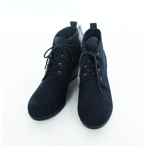 Marco Tozzi Navy Wedge Lace Up Boots