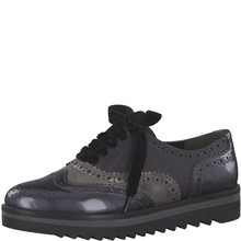 Marco Tozzi Black Steel Flat Lace Up Brogues