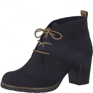 Marco Tozzi Navy Lace Up Heel Boots