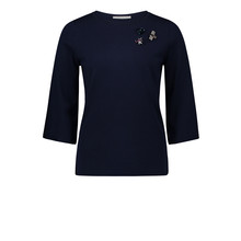 Betty Barclay Dark Navy Round Neck Jewelry Detail Top