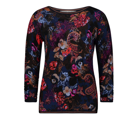 Betty Barclay Black & Red Knit Round Neck Top