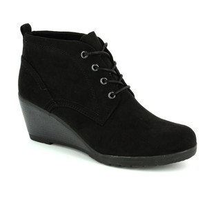 Marco Tozzi Black Lace Up Wedge Boot