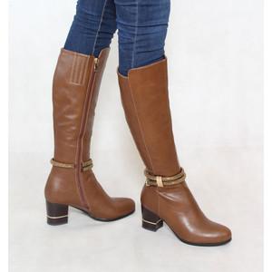 Susst Tan Knee Length Diamante Detail Boot
