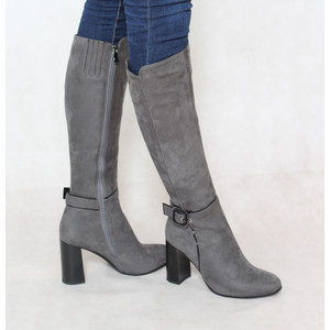 Susst Grey Knee Length Buckle Boot
