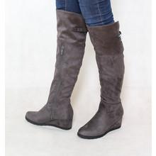 Susst Grey Over Knee Suede Effect Wedge Boot