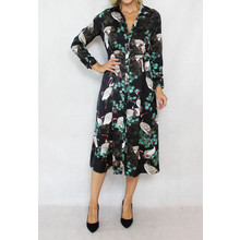 Pamela Scott Black Stork & Floral Print Shirt Dress