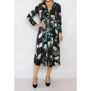 Jowell Black Stork & Floral Print Shirt Dress