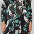 Jowell Black Stork & Floral Print Shirt Dress