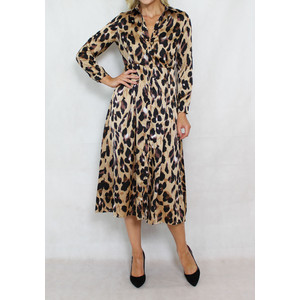 Jowell Animal Pattern Print Shirt Dress