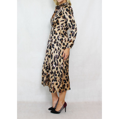Pamela Scott Animal Pattern Print Shirt Dress
