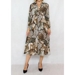Jowell Leopard Print Pattern Shirt Dress
