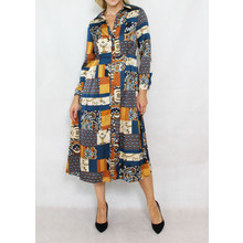 Jowell Blue & Gold Pattern Shirt Dress