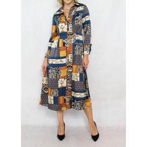Jowell Blue & Gold Pattern Shirt Dress