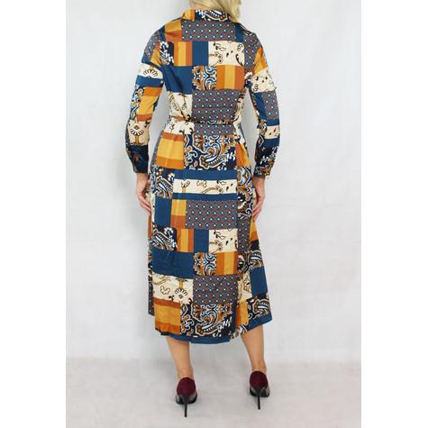 Pamela Scott Blue & Gold Pattern Shirt Dress