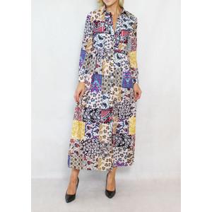 Pamela Scott Off White Multi Colour Print Shirt Dress
