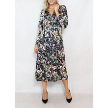 Jowell Black Floral Pattern Print Shirt Dress