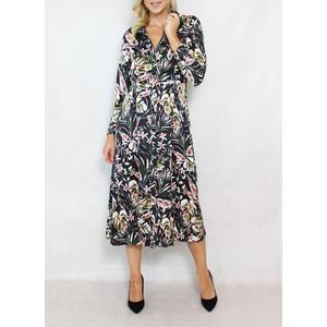 Jowell Black Floral Pattern Print Shirt Dress