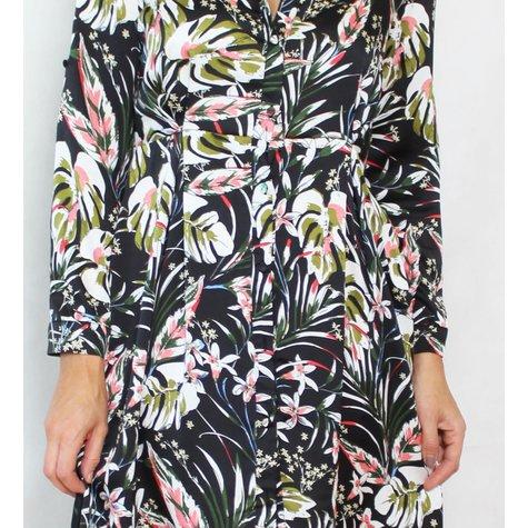 Pamela Scott Black Floral Pattern Print Shirt Dress