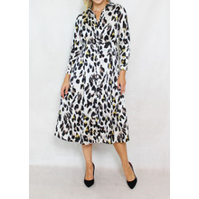 Jowell Black & Gold Animal Pattern Print Shirt Dress