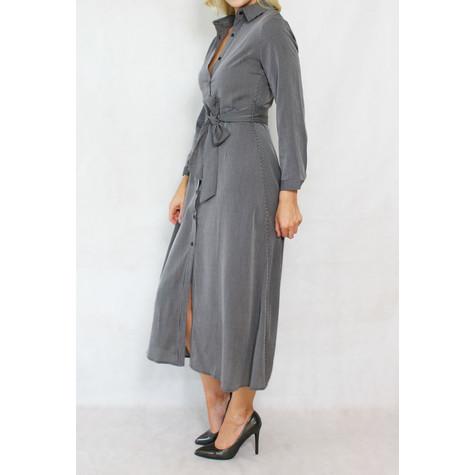 Pamela Scott Grey & Black Strip Belt Shirt Dress