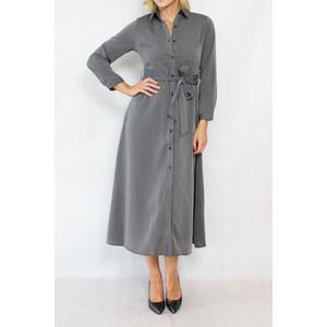 Dolssaci Grey & Black Strip Belt Shirt Dress