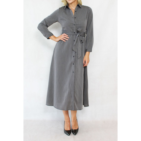 Pamela Scott Grey & Black Strip Belt Shirt Dress