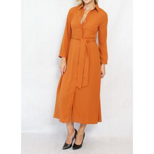 Dolssaci Burnt Tan Belted Shirt Dress