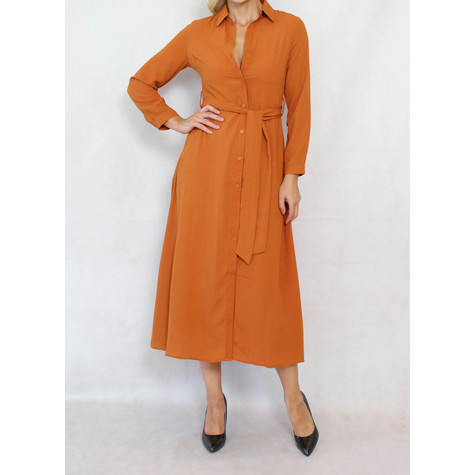 Pamela Scott Burnt Tan Belted Shirt Dress