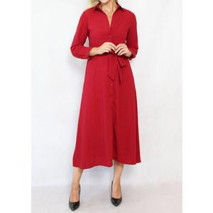 Dolssaci Dark Red Belted Shirt Dress