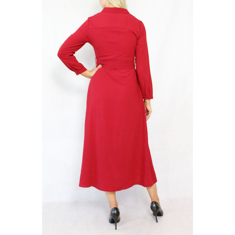 Pamela Scott Dark Red Belted Shirt Dress