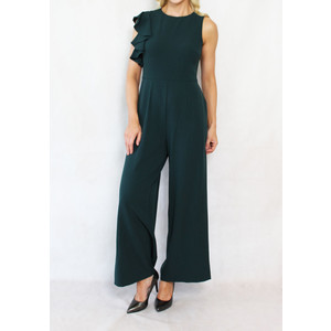 Julia Jordan Hunter Green Sleeveless Jumpsuit