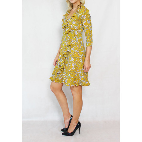 Pamela Scott Mustard White Floral Wrap Dress